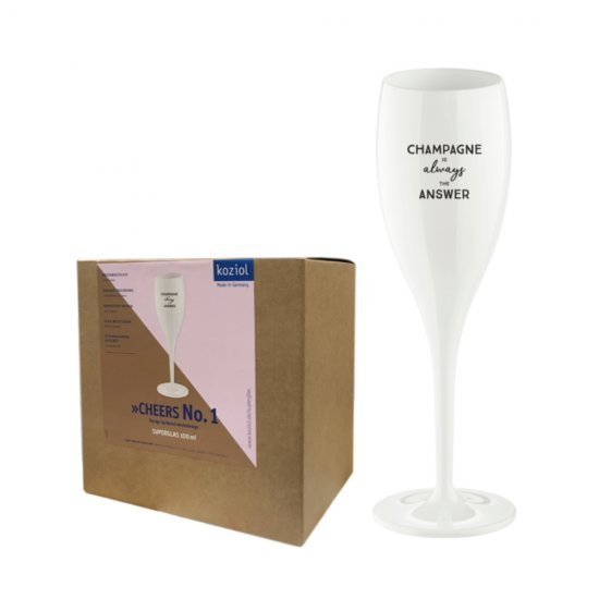 CHEERS, champagneglas med print - Champagne is your answer